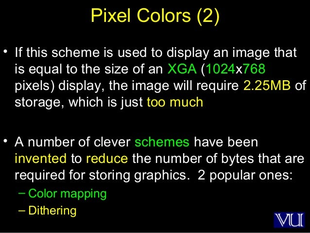 22 Pixel Colors (2) • If this scheme is used to display an image that is equal to the size of an XGA (1024x768 pixels) dis...