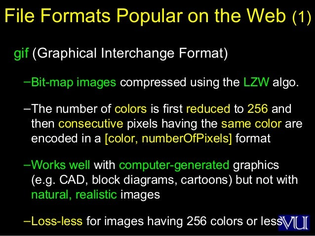 38 File Formats Popular on the Web (1) gif (Graphical Interchange Format) –Bit-map images compressed using the LZW algo. –...