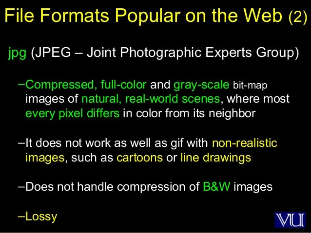39 File Formats Popular on the Web (2) jpg (JPEG – Joint Photographic Experts Group) –Compressed, full-color and gray-scal...