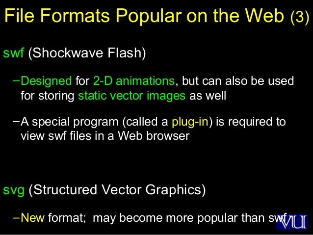 40 File Formats Popular on the Web (3) swf (Shockwave Flash) –Designed for 2-D animations, but can also be used for storin...
