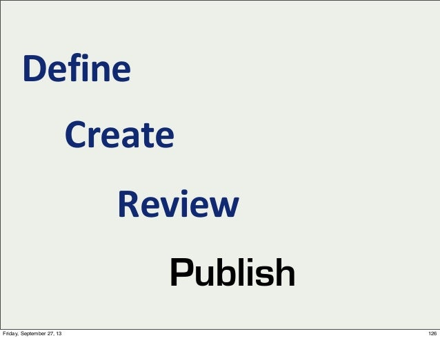 Define Create Review Publish 126Friday, September 27, 13
