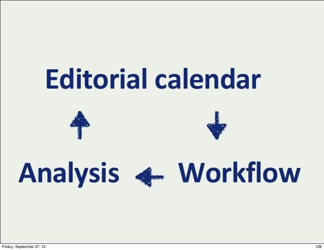 Editorial  calendar WorkflowAnalysis 128Friday, September 27, 13