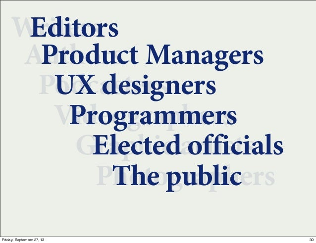 Writers Authors Podcasters Videographers Graphic artists Photographers Editors Product Managers UX designers Programmers E...