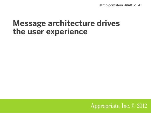 @mbloomstein #IAK12 41 © 2012 Message architecture drives the user experience