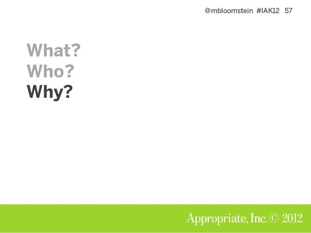 @mbloomstein #IAK12 58 © 2012 Why do this? Words are cheaper than comps.