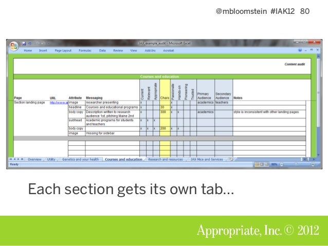@mbloomstein #IAK12 81 © 2012 Every tab tracks the same data Quantitative: • Head count: what do we have? • Is it consiste...