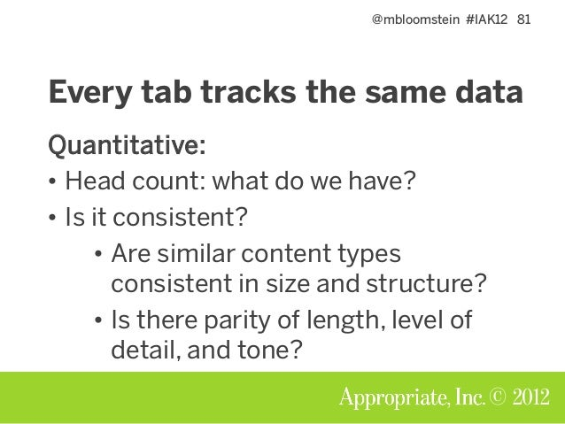 @mbloomstein #IAK12 82 © 2012 Every tab tracks the same data Qualitative: is it any good? • ROT analysis: redundant, outda...