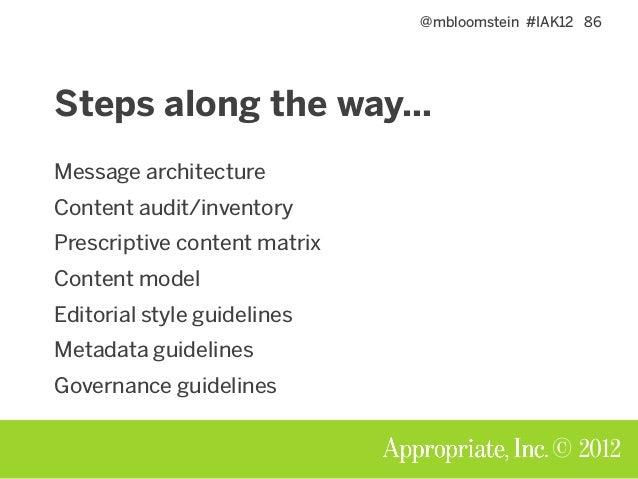 @mbloomstein #IAK12 87 © 2012 Steps along the way… Message architecture Content audit/inventory Prescriptive content matri...