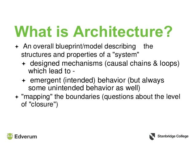 "What is Architecture?  An overall blueprint/model describing the structures and properties of a ""system""  designed mecha..."