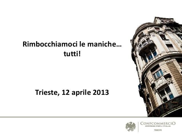 Rimbocchiamoci le maniche…          tutti!   Trieste, 12 aprile 2013
