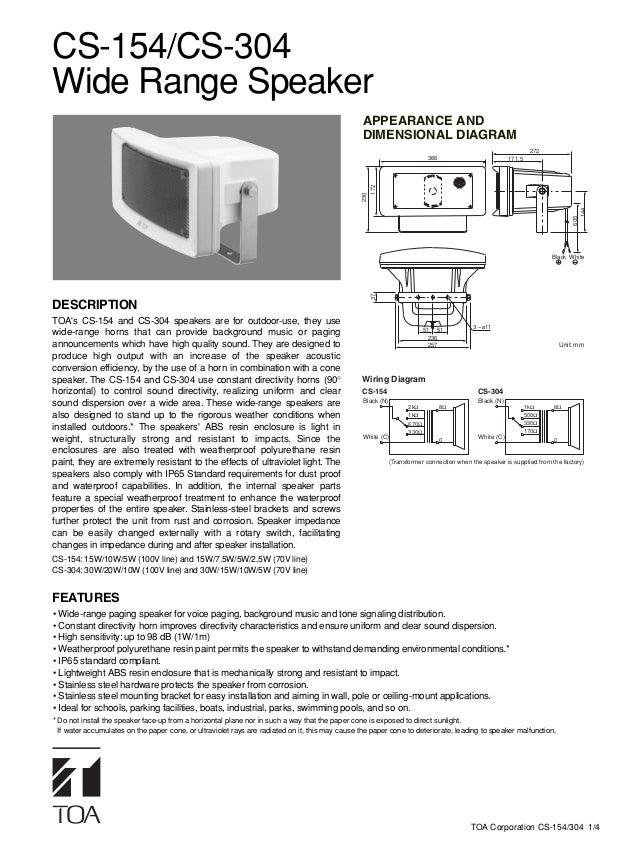 CS-154/CS-304Wide Range Speaker                                                                                           ...