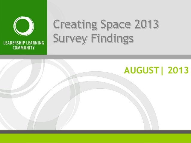 Creating Space 2013 Survey Findings AUGUST| 2013