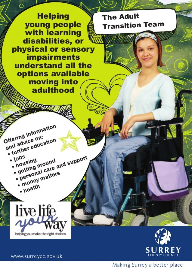 Helpingyoung peoplewith learningdisabilities, orphysical or sensoryimpairmentsunderstand all theoptions availablemoving in...