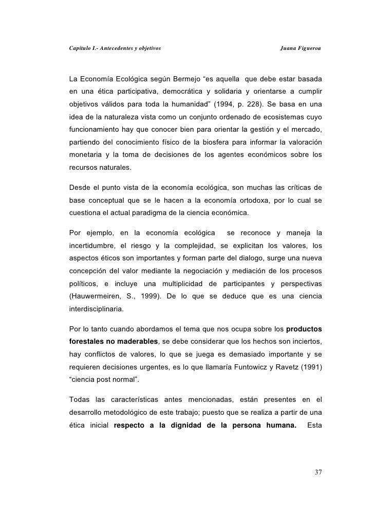 """Capitulo I.- Antecedentes y objetivos                            Juana FigueroaLa Economía Ecológica según Bermejo """"es aqu..."""
