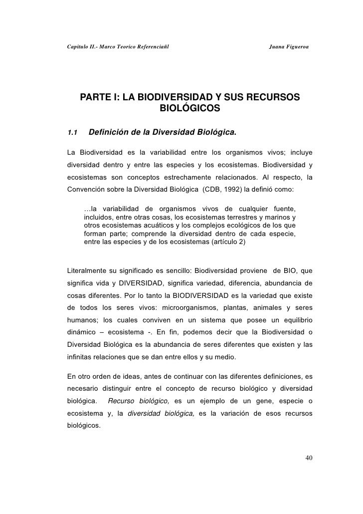 Capitulo II.- Marco Teorico Referenciañl                         Juana Figueroa      PARTE I: LA BIODIVERSIDAD Y SUS RECUR...