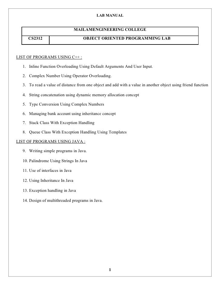 LAB MANUAL                                  MAILAMENGINEERING COLLEGE     CS2312                          OBJECT ORIENTED ...