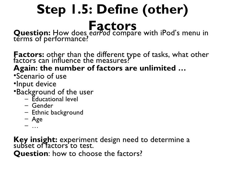 Step 1.5: Define (other)                   Factors with iPod's menu inQuestion: How does earPod compareterms of performanc...