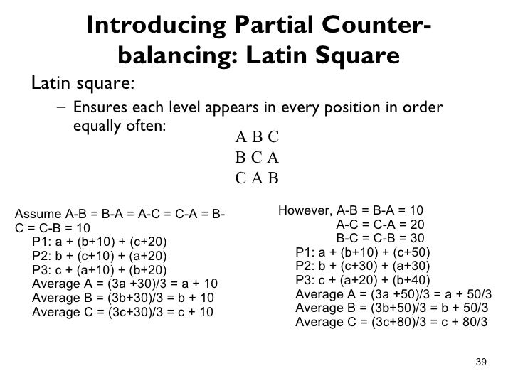 Introducing Partial Counter-              balancing: Latin Square  Latin square:      – Ensures each level appears in ever...
