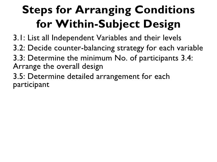 Steps for Arranging Conditions    for Within-Subject Design3.1: List all Independent Variables and their levels3.2: Decide...