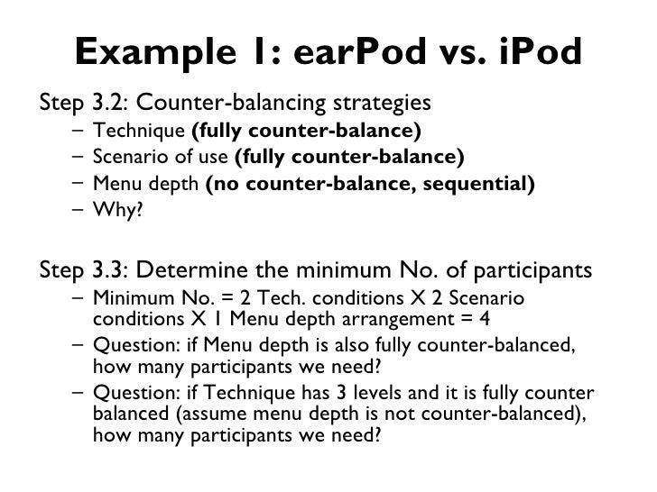Example 1: earPod vs. iPodStep 3.2: Counter-balancing strategies   –   Technique (fully counter-balance)   –   Scenario of...