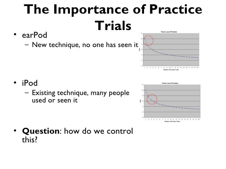 The Importance of Practice           Trials• earPod  – New technique, no one has seen it• iPod  – Existing technique, many...