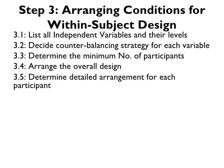 Step 3: Arranging Conditions for      Within-Subject Design3.1: List all Independent Variables and their levels3.2: Decide...