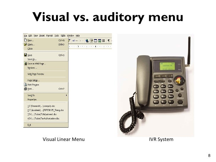 Visual vs. auditory menu Visual Linear Menu   IVR System                                   8