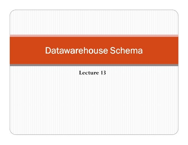 Lecture 13 Datawarehouse SchemaDatawarehouse SchemaDatawarehouse SchemaDatawarehouse Schema