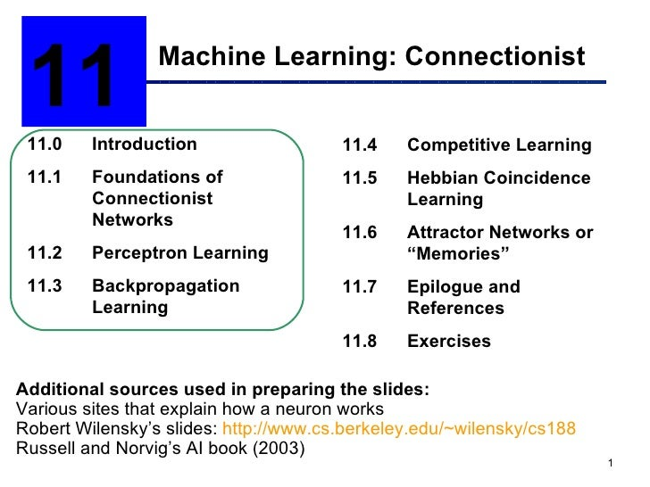 Machine Learning: Connectionist 11  11.0 Introduction 11.1 Foundations of  Connectionist Networks 11.2 Perceptron Learning...