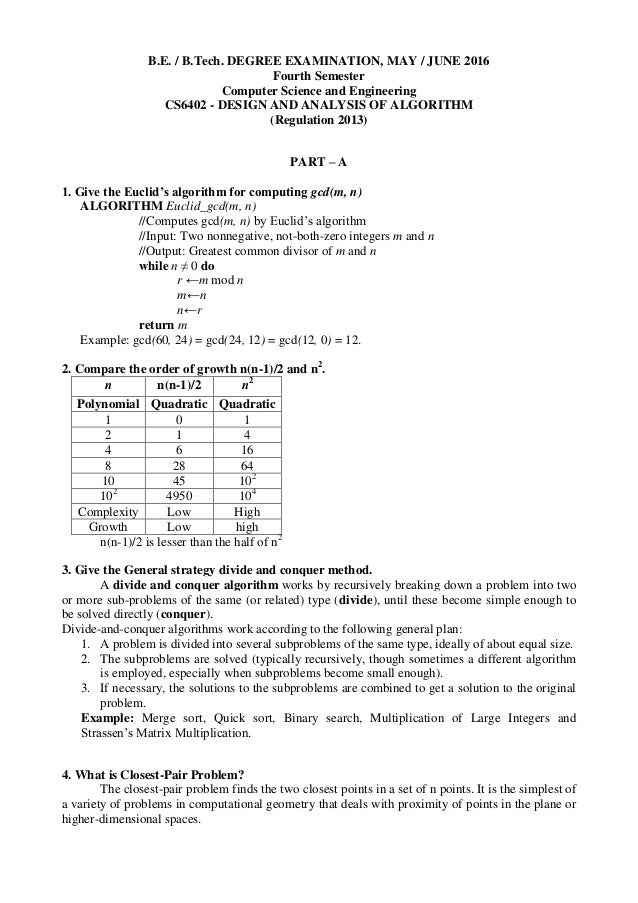 Cs6402 design and analysis of algorithms may june 2016