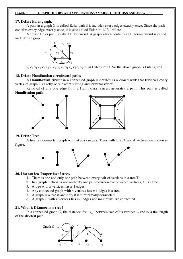 Cs6702 Graph Theory And Applications 2 Marks Questions And Answers