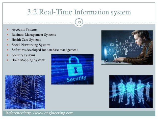 3.2.Real-Time Information system 13  Accounts Systems  Business Management Systems  Health Care Systems  Social Networ...