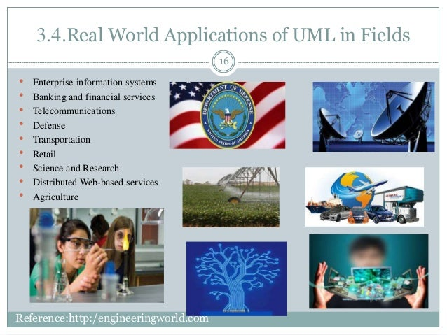 3.4.Real World Applications of UML in Fields 16  Enterprise information systems  Banking and financial services  Teleco...