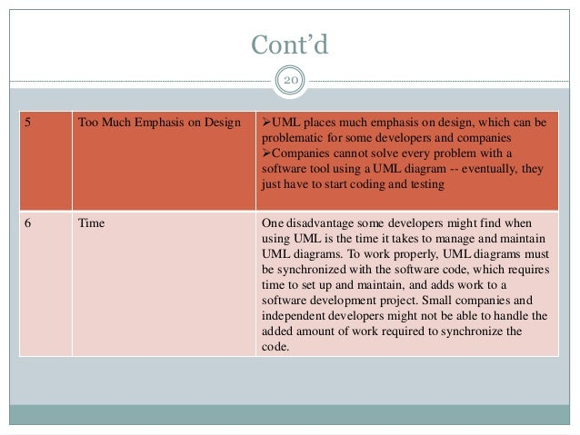 Cont'd 20 5 Too Much Emphasis on Design UML places much emphasis on design, which can be problematic for some developers ...