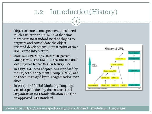 1.2 Introduction(History)  Object oriented concepts were introduced much earlier than UML. So at that time there were no ...