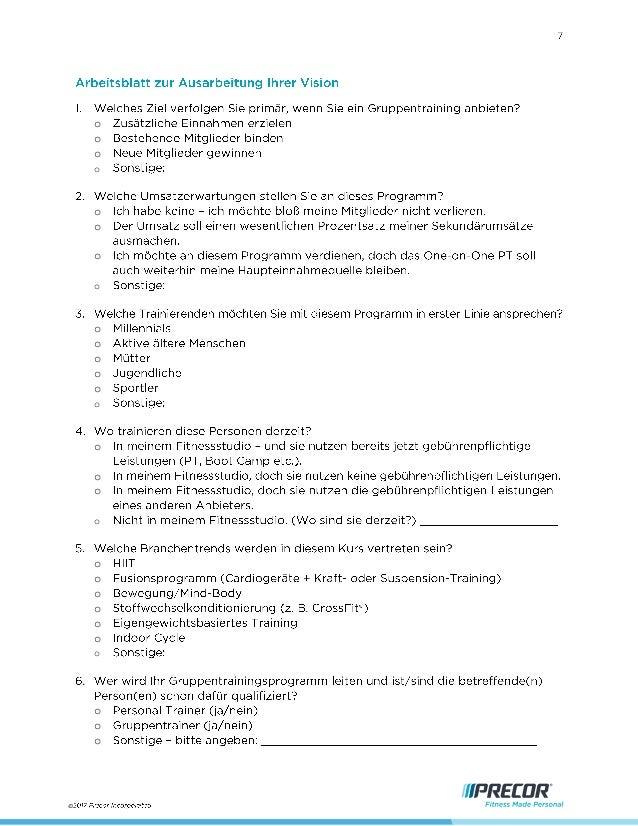 Precor Group Training Business Manual - German