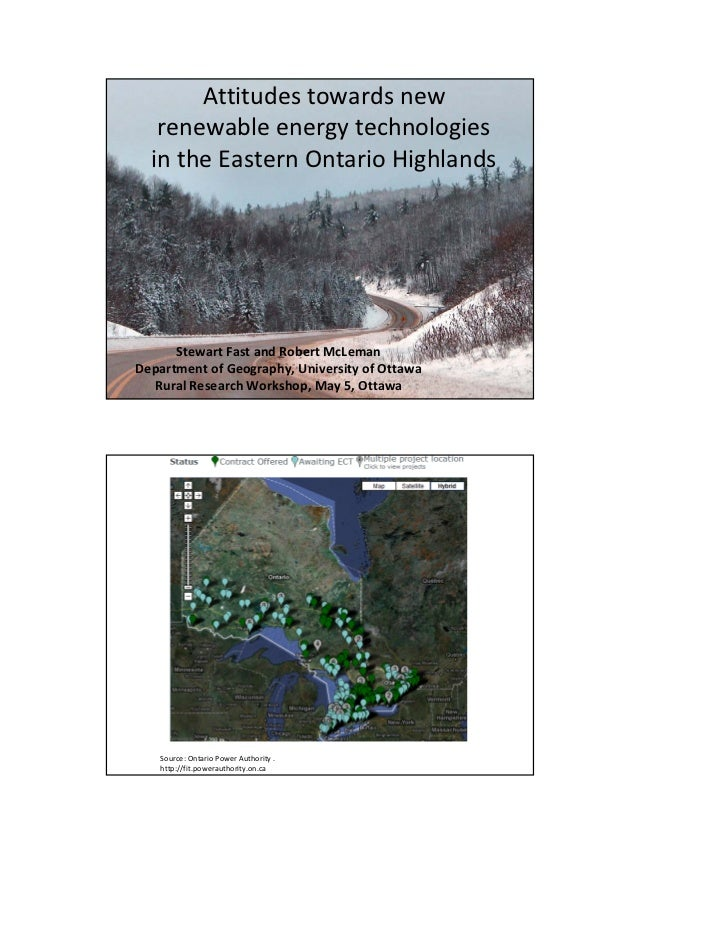 Attitudes towards new    renewable energy technologies   in the Eastern Ontario Highlands       Stewart Fast and Robert Mc...