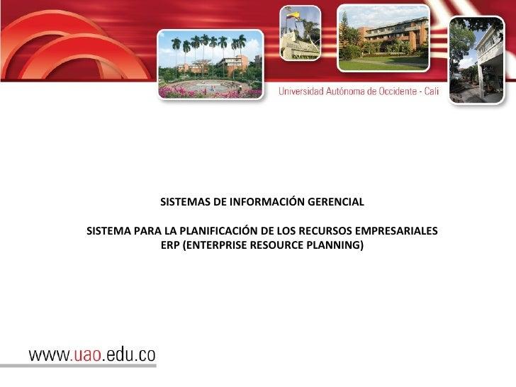 SISTEMAS DE INFORMACIÓN GERENCIAL SISTEMA PARA LA PLANIFICACIÓN DE LOS RECURSOS EMPRESARIALES ERP (ENTERPRISE RESOURCE PLA...