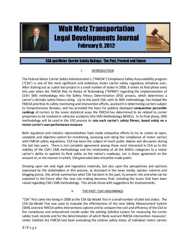 Walt Metz Transportation                        Legal Developments Journal                                           Febru...