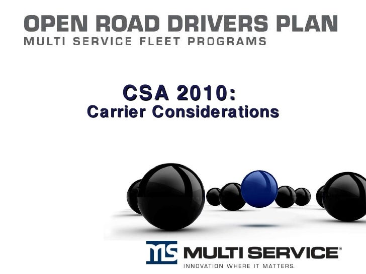 CSA 2010:  Carrier Considerations