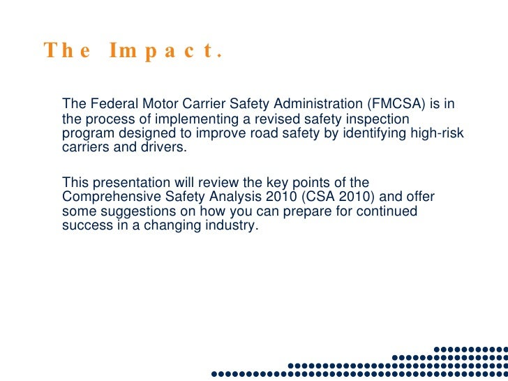 Csa 2010 the driver impact for Federal motor carrier number