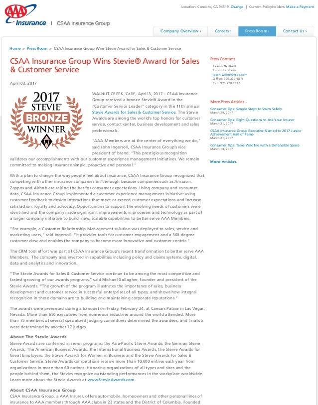 CSAA Insurance Group Wins Stevie Award for Sales Customer