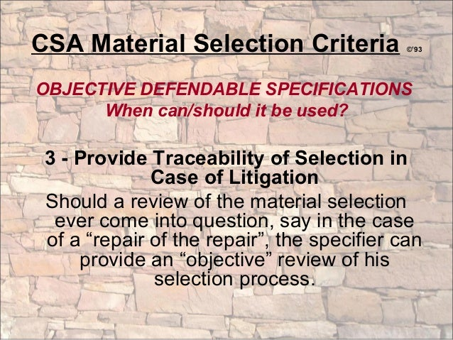 criteria for material selection pdf