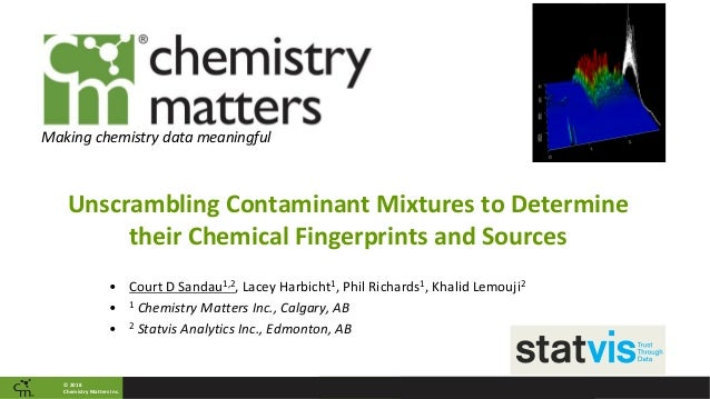 © 2018 Chemistry Matters Inc. Making chemistry data meaningful Unscrambling Contaminant Mixtures to Determine their Chemic...
