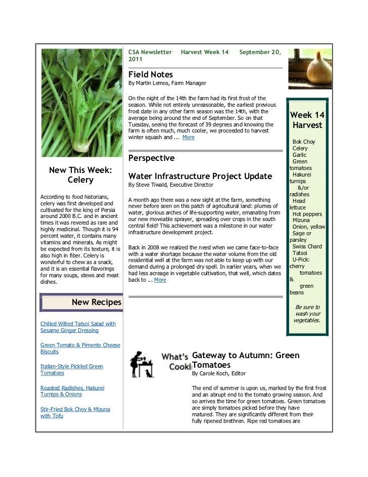 CSA Newsletter        Harvest Week 14          September 20,                                      2011                    ...