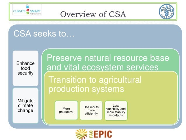 Overview of CSA  CSA seeks to…  Enhance  food  security  Mitigate  climate  change  Preserve natural resource base  and vi...
