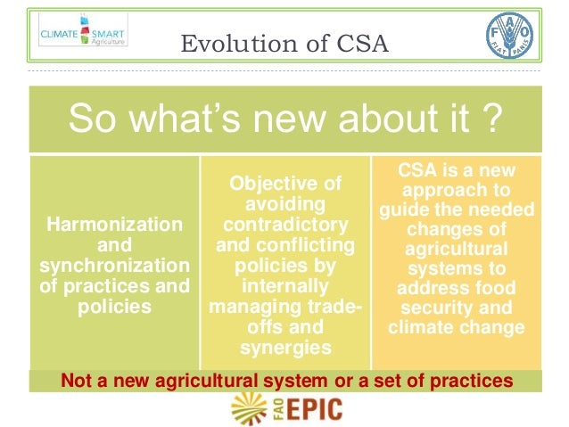 Evolution of CSA  So what's new about it ?  Harmonization  and  synchronization  of practices and  policies  Objective of ...