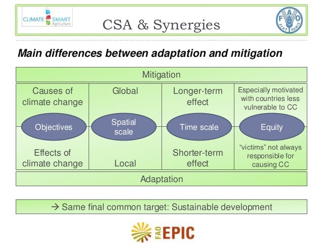 CSA & Synergies  Main differences between adaptation and mitigation  Longer-term  effect  Shorter-term  effect  Especially...