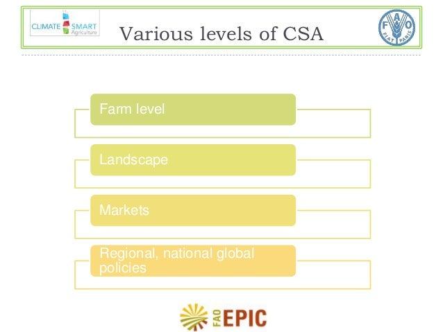 Various levels of CSA  Farm level  Landscape  Markets  Regional, national global  policies