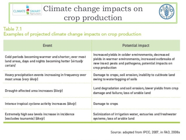 Climate change impacts on  crop production